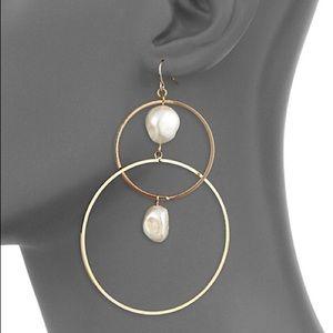 Ava & Aiden Double Circle Drop Earrings w/ Pearls